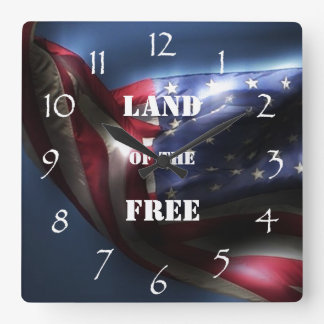 Glowing American Flag/Land of the Free Square Wallclocks