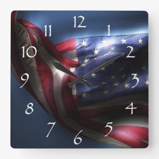 Glowing American Flag Square Wall Clock