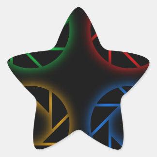 Glowing aperture star sticker