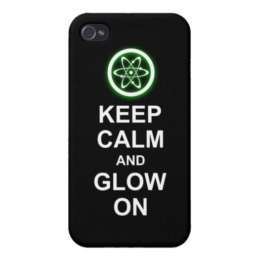 """Glowing Atomic Symbol """"Keep Calm and Glow On"""" iPhone 4/4S Covers"""