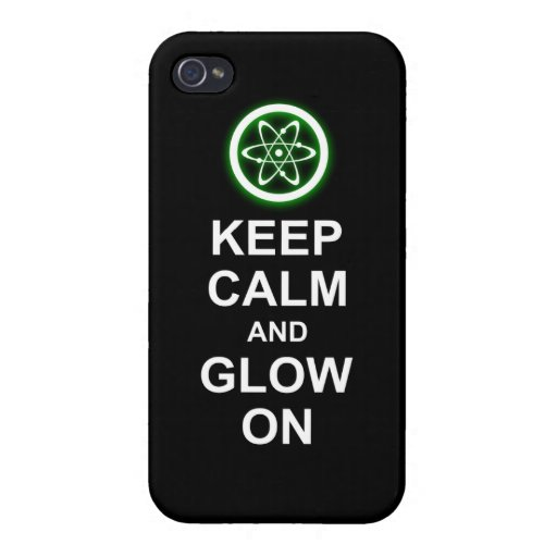 """Glowing Atomic Symbol """"Keep Calm and Glow On"""" Case For iPhone 4"""