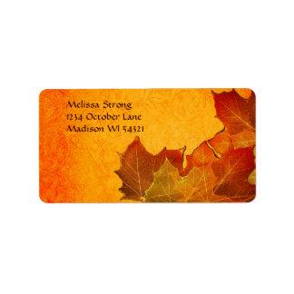 Glowing Autumn Leaves in Orange Address Label