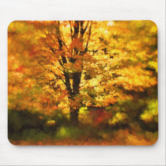Glowing Autumn Tree Painting Mouse Pad