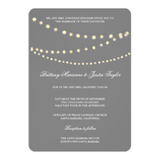 Glowing Bistro Lights Silver Wedding Invitation