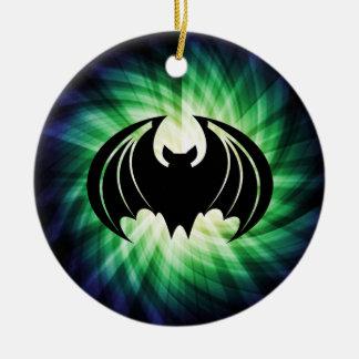Glowing Black Bat; Halloween Ceramic Ornament