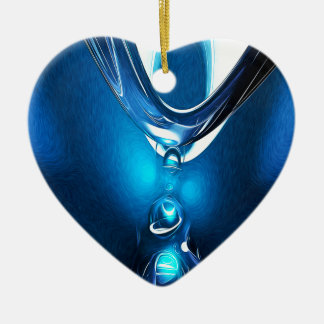 Glowing Blue Abstract Ceramic Ornament