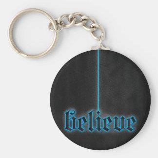 Glowing Blue Believe Keychain