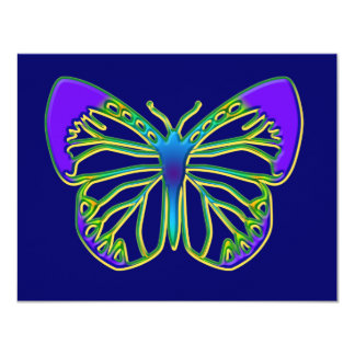 Glowing Blue Butterfly 4.25x5.5 Paper Invitation Card