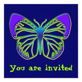 """Glowing Blue Butterfly Invitation 5.25"""" Square Invitation Card"""
