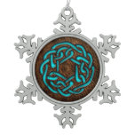 Glowing blue celtic knot on leather digital art snowflake pewter christmas ornament