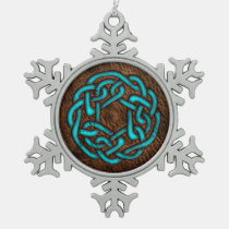 Glowing blue celtic knot on leather digital art