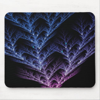 Glowing Blue Fractal Tree Mouse Pad