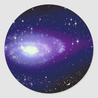 Glowing blue galaxy classic round sticker