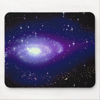 Glowing blue galaxy mouse pad