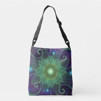 Glowing Blue-Green Fractal Lotus Lily Pad Pond Crossbody Bag