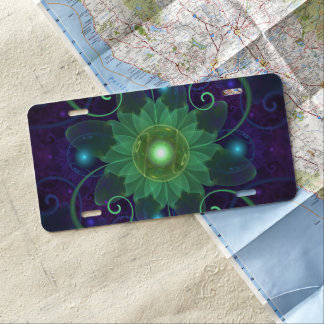 Glowing Blue-Green Fractal Lotus Lily Pad Pond License Plate