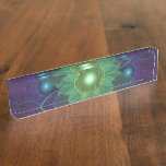 Glowing Blue-Green Fractal Lotus Lily Pad Pond Name Plate
