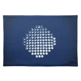 Glowing Blue Honeycomb Design Cloth Placemat