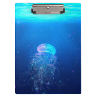 Glowing blue jellyfish swimming in mystical ocean clipboard