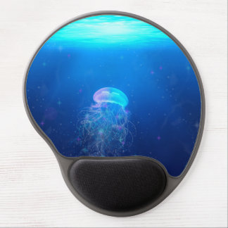 Glowing blue jellyfish swimming in mystical ocean gel mouse pad