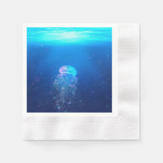 Glowing blue jellyfish swimming in mystical ocean paper napkin