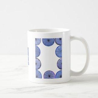 Glowing blue Lemon and lime slice frame Classic White Coffee Mug