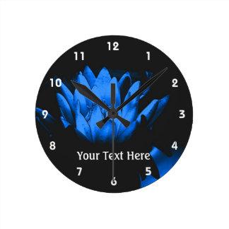 Glowing Blue Lotus Water Lily Flower Art Round Wall Clocks