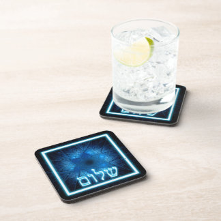 Glowing Blue Shalom On Etched Star of David Beverage Coaster