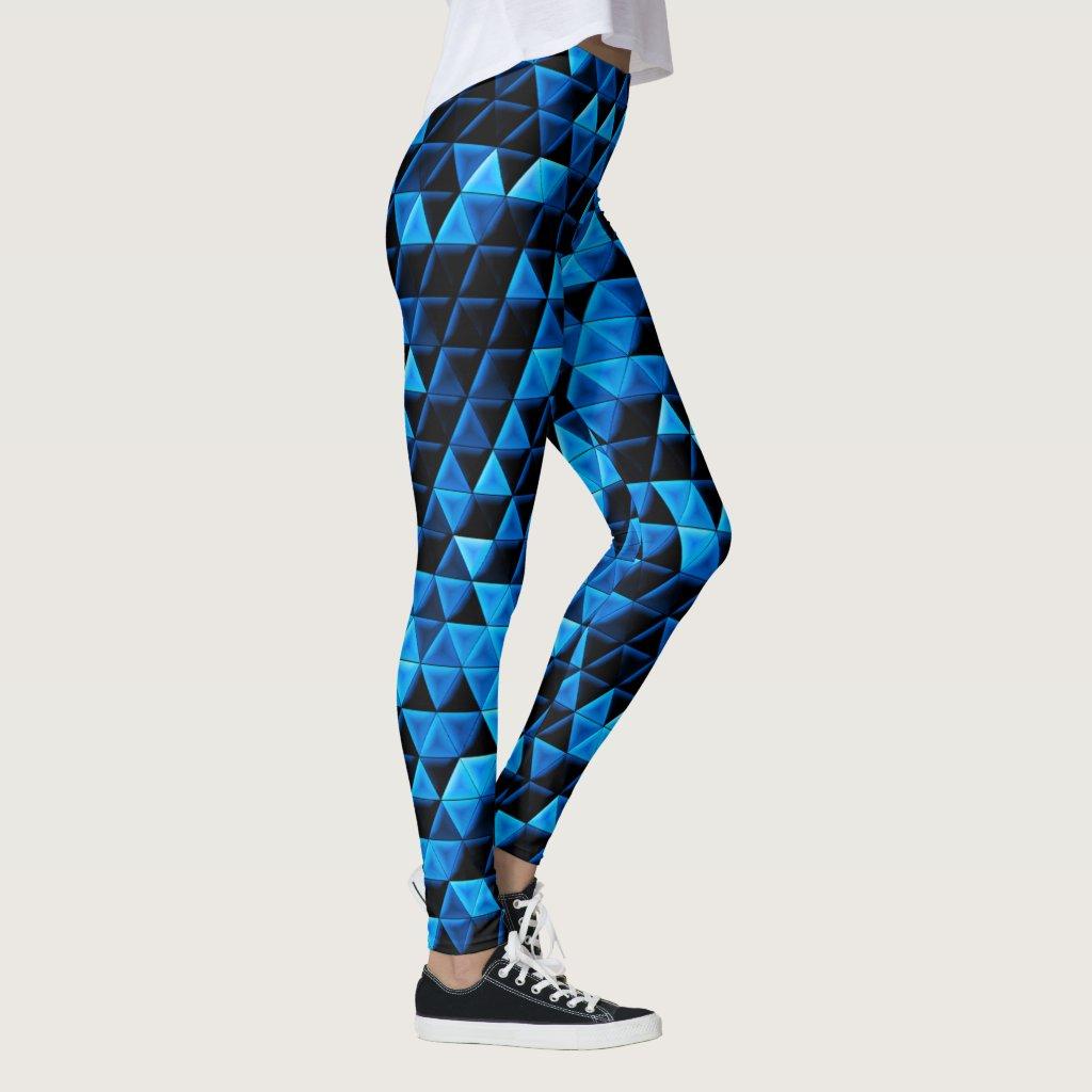 Glowing Blue Tiles Leggings
