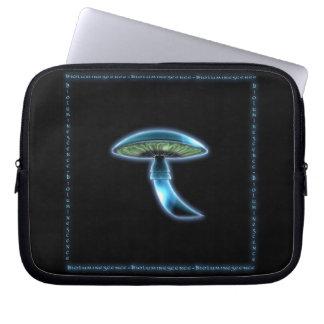 Glowing Blue Toadstool Sci Fi Laptop Sleeve