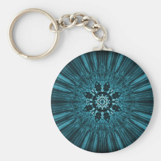 Glowing Blue Winter Snowflake Keychain