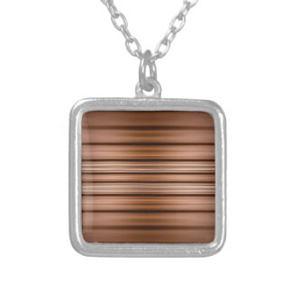 Glowing brown and black stripes silver plated necklace