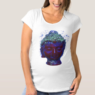 Glowing Buddha  face in purple colors Maternity T-Shirt