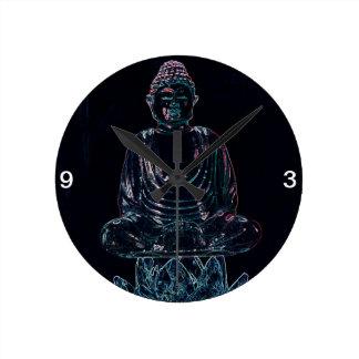 Glowing Buddha Round Clock