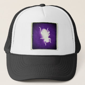glowing bug with purple and black trucker hat