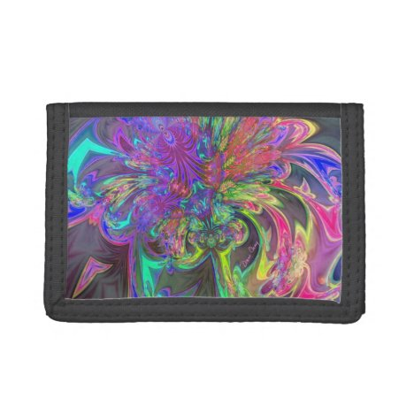 Glowing Burst of Color, Abstract Teal Violet Deva Tri-fold Wallet