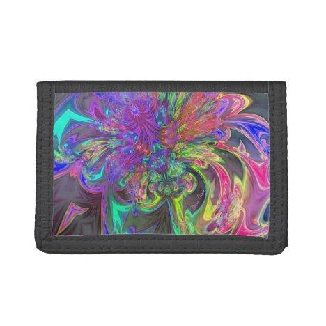 Glowing Burst of Color, Abstract Teal Violet Deva Tri-fold Wallet