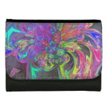 Glowing Burst of Color, Abstract Teal Violet Deva Leather Wallets