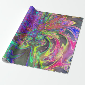 Glowing Burst of Color, Abstract Teal Violet Deva Wrapping Paper