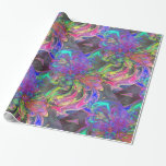 Glowing Burst of Color, Abstract Teal Violet Deva Gift Wrapping Paper