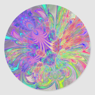 Glowing Burst of Color Classic Round Sticker