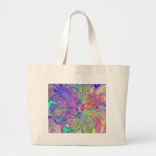Glowing Burst of Color Large Tote Bag