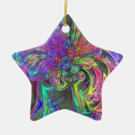Glowing Burst of Color – Teal & Violet Deva Ceramic Ornament