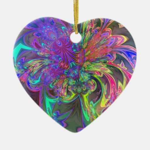 Glowing Burst of Color – Teal & Violet Deva Double-Sided Heart Ceramic Christmas Ornament