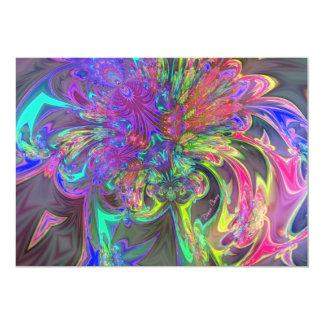 """Glowing Burst of Color – Teal & Violet Deva 5"""" X 7"""" Invitation Card"""