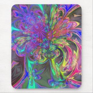 Glowing Burst of Color – Teal & Violet Deva Mouse Pad