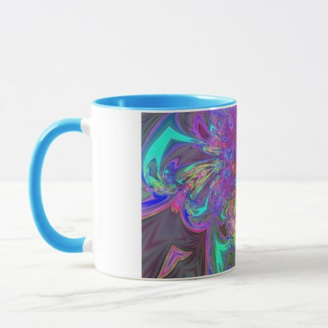 Glowing Burst of Color – Teal & Violet Deva Mug