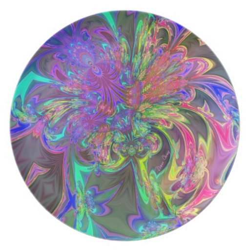 Glowing Burst of Color – Teal & Violet Deva Party Plate