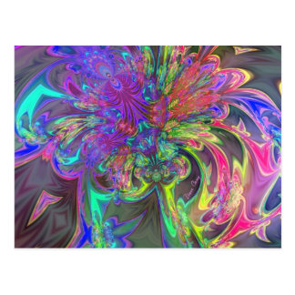 Glowing Burst of Color – Teal & Violet Deva Postcard