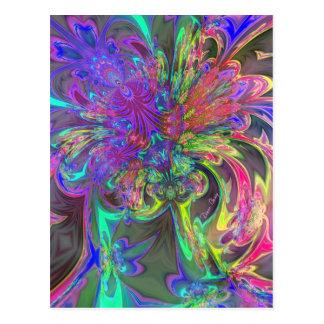 Glowing Burst of Color – Teal & Violet Deva Postcard